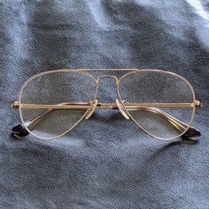 Ray-Ban Gold Unisex Aviator Eyeglasses RX6489